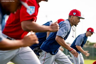 FT. MYERS, FL - FEBRUARY 25: Mookie Betts #50 of the Boston Red Sox runs sprints during a team workout on February 25, 2019 at JetBlue Park at Fenway South in Fort Myers, Florida. (Photo by Billie Weiss/Boston Red Sox/Getty Images) *** Local Caption *** Mookie Betts