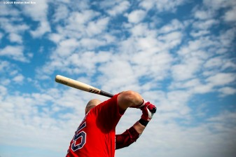 FT. MYERS, FL - FEBRUARY 25: Steve Pearce #25 of the Boston Red Sox warms up during a team workout on February 25, 2019 at JetBlue Park at Fenway South in Fort Myers, Florida. (Photo by Billie Weiss/Boston Red Sox/Getty Images) *** Local Caption *** Steve Pearce