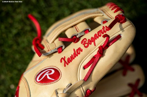 FT. MYERS, FL - FEBRUARY 25: The glove of Xander Bogaerts #2 of the Boston Red Sox is shown during a team workout on February 25, 2019 at JetBlue Park at Fenway South in Fort Myers, Florida. (Photo by Billie Weiss/Boston Red Sox/Getty Images) *** Local Caption *** Xander Bogaerts