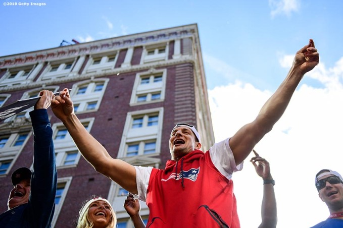 BOSTON, MASSACHUSETTS - FEBRUARY 05: Rob Gronkowski #87 of the New England Patriots reacts during the Super Bowl Victory Parade on February 05, 2019 in Boston, Massachusetts. (Photo by Billie Weiss/Getty Images)