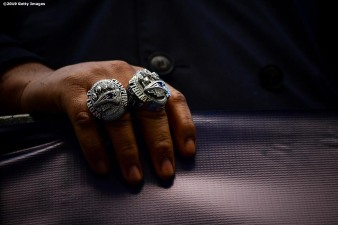 BOSTON, MASSACHUSETTS - FEBRUARY 05: New England Patriots Super Bowl rings are displayed during the Super Bowl Victory Parade on February 05, 2019 in Boston, Massachusetts. (Photo by Billie Weiss/Getty Images)