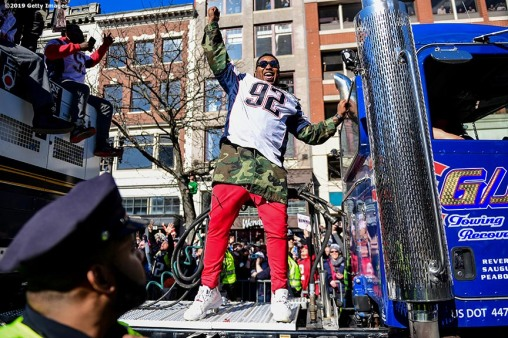 BOSTON, MASSACHUSETTS - FEBRUARY 05: Frank Herron #92 of the New England Patriots celebrates during the Super Bowl Victory Parade on February 05, 2019 in Boston, Massachusetts. (Photo by Billie Weiss/Getty Images)