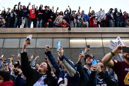 BOSTON, MASSACHUSETTS - FEBRUARY 05: Fans react during the New England Patriots Super Bowl Victory Parade on February 05, 2019 in Boston, Massachusetts. (Photo by Billie Weiss/Getty Images)