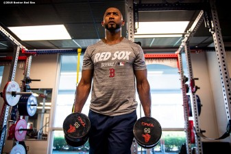 FT. MYERS, FL - FEBRUARY 28: Eduardo Nunez #36 of the Boston Red Sox lifts weights before a game against the Washington Nationals on February 28, 2019 at JetBlue Park at Fenway South in Fort Myers, Florida. (Photo by Billie Weiss/Boston Red Sox/Getty Images) *** Local Caption *** Eduardo Nunez