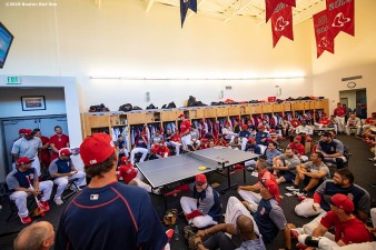 FT. MYERS, FL - FEBRUARY 28: A Boston Red Sox team meeting is held before a game against the Washington Nationals on February 28, 2019 at JetBlue Park at Fenway South in Fort Myers, Florida. (Photo by Billie Weiss/Boston Red Sox/Getty Images) *** Local Caption ***