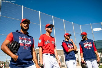 FT. MYERS, FL - FEBRUARY 28: Eduardo Rodriguez #57, Chris Sale #41, Rick Porcello #22, and David Price #10 of the Boston Red Sox look on before a game against the Washington Nationals on February 28, 2019 at JetBlue Park at Fenway South in Fort Myers, Florida. (Photo by Billie Weiss/Boston Red Sox/Getty Images) *** Local Caption *** Eduardo Rodriguez; Chris Sale; Rick Porcello; David Price