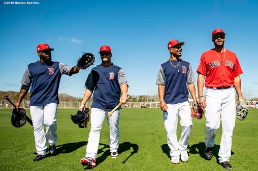 FT. MYERS, FL - FEBRUARY 28: Jackie Bradley Jr. #19, Andrew Benintendi #16, Mookie Betts #50, and J.D. Martinez #28 of the Boston Red Sox react before a game against the Washington Nationals on February 28, 2019 at JetBlue Park at Fenway South in Fort Myers, Florida. (Photo by Billie Weiss/Boston Red Sox/Getty Images) *** Local Caption *** Jackie Bradley Jr.; Mookie Betts; Andrew Benintendi; J.D. Martinez