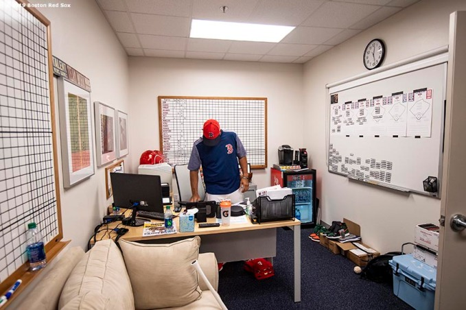 FT. MYERS, FL - FEBRUARY 28: Manager Alex Cora of the Boston Red Sox works in his office before a game against the Washington Nationals on February 28, 2019 at JetBlue Park at Fenway South in Fort Myers, Florida. (Photo by Billie Weiss/Boston Red Sox/Getty Images) *** Local Caption *** Alex Cora