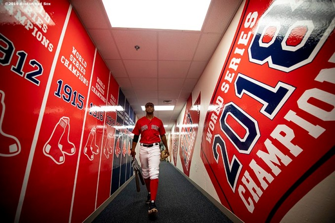 FT. MYERS, FL - FEBRUARY 28: Xander Bogaerts #2 of the Boston Red Sox walks through the tunnel before a game against the Washington Nationals on February 28, 2019 at JetBlue Park at Fenway South in Fort Myers, Florida. (Photo by Billie Weiss/Boston Red Sox/Getty Images) *** Local Caption *** Xander Bogaerts