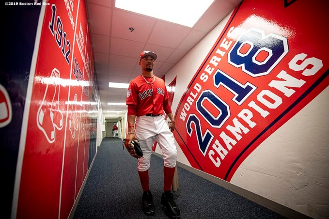 FT. MYERS, FL - FEBRUARY 28: Mookie Betts #50 of the Boston Red Sox walks through the tunnel before a game against the Washington Nationals on February 28, 2019 at JetBlue Park at Fenway South in Fort Myers, Florida. (Photo by Billie Weiss/Boston Red Sox/Getty Images) *** Local Caption *** Mookie Betts