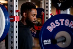 FT. MYERS, FL - MARCH 4: Jackie Bradley Jr. #19 of the Boston Red Sox lifts weights during a team workout on March 4, 2019 at JetBlue Park at Fenway South in Fort Myers, Florida. (Photo by Billie Weiss/Boston Red Sox/Getty Images) *** Local Caption *** Jackie Bradley Jr.