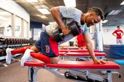 FT. MYERS, FL - MARCH 4: Xander Bogaerts #2 of the Boston Red Sox lifts weights during a team workout on March 4, 2019 at JetBlue Park at Fenway South in Fort Myers, Florida. (Photo by Billie Weiss/Boston Red Sox/Getty Images) *** Local Caption *** Xander Bogaerts