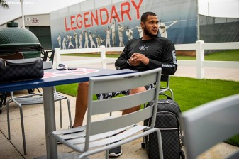 FT. MYERS, FL - MARCH 5: Eduardo Rodriguez #57 of the Boston Red Sox looks on at JetBlue Park at Fenway South before going fishing after a team workout on March 5, 2019 in Sanibel, Florida. (Photo by Billie Weiss/Boston Red Sox/Getty Images) *** Local Caption *** Eduardo Rodriguez