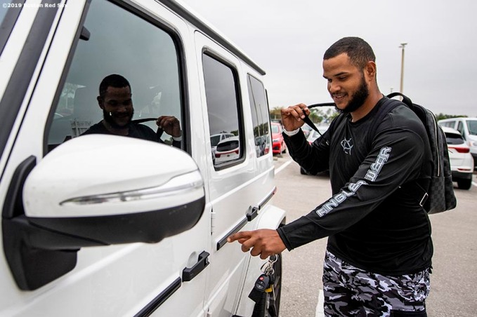 FT. MYERS, FL - MARCH 5: Eduardo Rodriguez #57 of the Boston Red Sox gets into his car at JetBlue Park at Fenway South before going fishing after a team workout on March 5, 2019 in Sanibel, Florida. (Photo by Billie Weiss/Boston Red Sox/Getty Images) *** Local Caption *** Eduardo Rodriguez