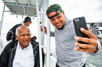 FT. MYERS, FL - MARCH 5: Juan Centeno #68 of the Boston Red Sox poses for a selfie photograph with former Director of the Boston Red Sox Dominican Academy Jesus Alou during a fishing trip after a team workout on March 5, 2019 in Sanibel, Florida. (Photo by Billie Weiss/Boston Red Sox/Getty Images) *** Local Caption *** Jesus Alou; Juan Centeno