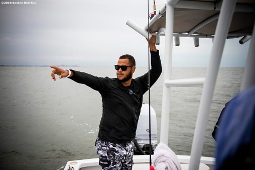 FT. MYERS, FL - MARCH 5: Eduardo Rodriguez #57 of the Boston Red Sox reacts during a fishing trip after a team workout on March 5, 2019 in Sanibel, Florida. (Photo by Billie Weiss/Boston Red Sox/Getty Images) *** Local Caption *** Eduardo Rodriguez