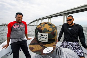FT. MYERS, FL - MARCH 5: Former pitcher Pedro Martinez, Eduardo Rodriguez #57 and Juan Centeno #68 of the Boston Red Sox talk during a fishing trip after a team workout on March 5, 2019 in Sanibel, Florida. (Photo by Billie Weiss/Boston Red Sox/Getty Images) *** Local Caption *** Eduardo Rodriguez; Pedro Martinez; Eduardo Rodriguez