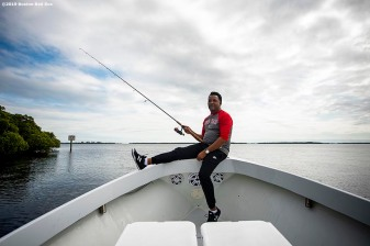 FT. MYERS, FL - MARCH 5: Former pitcher Pedro Martinez of the Boston Red Sox fishes during a fishing trip after a team workout on March 5, 2019 in Sanibel, Florida. (Photo by Billie Weiss/Boston Red Sox/Getty Images) *** Local Caption *** Pedro Martinez