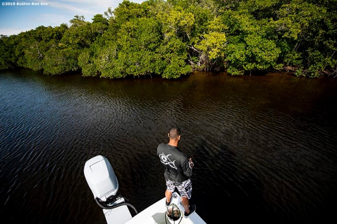 FT. MYERS, FL - MARCH 5: Eduardo Rodriguez #57 of the Boston Red Sox fishes during a fishing trip after a team workout on March 5, 2019 in Sanibel, Florida. (Photo by Billie Weiss/Boston Red Sox/Getty Images) *** Local Caption *** Eduardo Rodriguez