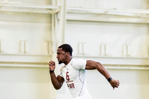 March 20, 2019, Chestnut Hill, MA: Members of Boston College football participate in 2019 NFL Pro Day at Fish Field House at Boston College in Chestnut Hill, Massachusetts Wednesday, March 20, 2019. (Photo by Billie Weiss/Boston College)
