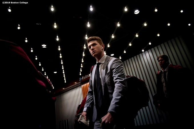 March 22, 2019, Boston, MA: Members of Boston College arrive before a 2019 Hockey East game against University of Massachusetts at TD Garden in Boston, Massachusetts Friday, March 22, 2019. (Photo by Billie Weiss/Boston College)