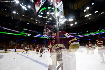 March 22, 2019, Boston, MA: JD Dudek #15 of Boston College warms up before the 2019 Hockey East semi-final game against University of Massachusetts at TD Garden in Boston, Massachusetts Friday, March 22, 2019. (Photo by Billie Weiss/Boston College)