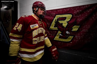 March 22, 2019, Boston, MA: Patrick Giles #24 of Boston College walks through the hallway before the 2019 Hockey East semi-final game against University of Massachusetts at TD Garden in Boston, Massachusetts Friday, March 22, 2019. (Photo by Billie Weiss/Boston College)