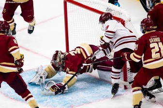March 22, 2019, Boston, MA: of Boston College during the period of the 2019 Hockey East semi-final game against University of Massachusetts at TD Garden in Boston, Massachusetts Friday, March 22, 2019. (Photo by Billie Weiss/Boston College)