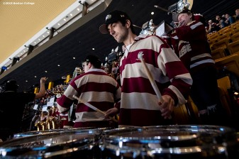 March 22, 2019, Boston, MA: The band of Boston College plays during the first period of the 2019 Hockey East semi-final game against University of Massachusetts at TD Garden in Boston, Massachusetts Friday, March 22, 2019. (Photo by Billie Weiss/Boston College)