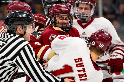 March 22, 2019, Boston, MA: Ron Greco #287 of Boston College fights during the second period of the 2019 Hockey East semi-final game against University of Massachusetts at TD Garden in Boston, Massachusetts Friday, March 22, 2019. (Photo by Billie Weiss/Boston College)