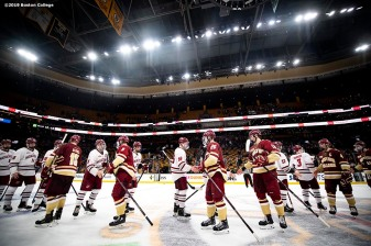 March 22, 2019, Boston, MA: Members of Boston College shake hands after winning the 2019 Hockey East semi-final game against University of Massachusetts at TD Garden in Boston, Massachusetts Friday, March 22, 2019. (Photo by Billie Weiss/Boston College)