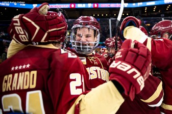 March 22, 2019, Boston, MA: Members of Boston College celebrate after defeating University of Massachusetts in the 2019 Hockey East semi-final game at TD Garden in Boston, Massachusetts Friday, March 22, 2019. (Photo by Billie Weiss/Boston College)