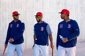 MESA, AZ - MARCH 25: Xander Bogaerts #2, Eduardo Nunez #36, and Rafael Devers #11 of the Boston Red Sox react before a spring training game against the Chicago Cubs on March 25, 2019 at Sloan Park in Mesa, Arizona. (Photo by Billie Weiss/Boston Red Sox/Getty Images) *** Local Caption *** Xander Bogaerts; Eduardo Nunez; Rafael Devers