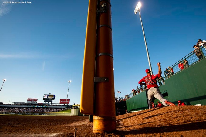 MESA, AZ - MARCH 25: Rick Porcello #22 of the Boston Red Sox warms up in the bullpen before a spring training game against the Chicago Cubs on March 25, 2019 at Sloan Park in Mesa, Arizona. (Photo by Billie Weiss/Boston Red Sox/Getty Images) *** Local Caption *** Rick Porcello