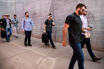 MESA, AZ - MARCH 26: Members o f the Boston Red Sox arrives before a spring training game against the Chicago Cubs on March 26, 2019 at Sloan Park in Mesa, Arizona. (Photo by Billie Weiss/Boston Red Sox/Getty Images) *** Local Caption ***