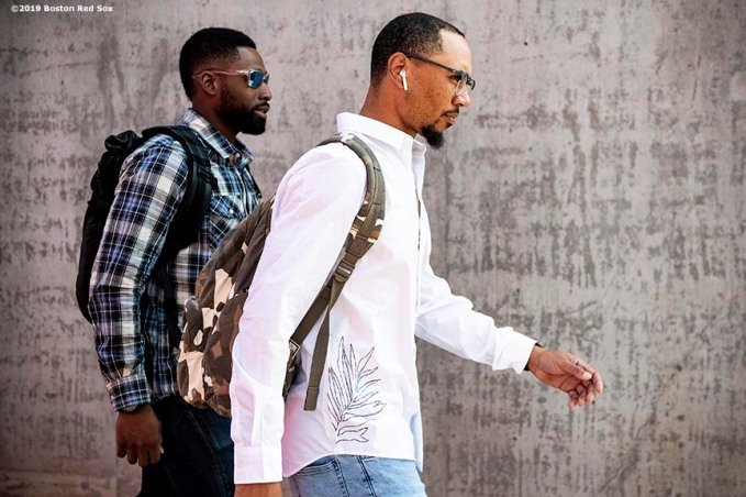 MESA, AZ - MARCH 26: Jackie Bradley Jr. #19 and Mookie Betts #50 of the Boston Red Sox arrive before a spring training game against the Chicago Cubs on March 26, 2019 at Sloan Park in Mesa, Arizona. (Photo by Billie Weiss/Boston Red Sox/Getty Images) *** Local Caption *** Jackie Bradley Jr.; Mookie Betts