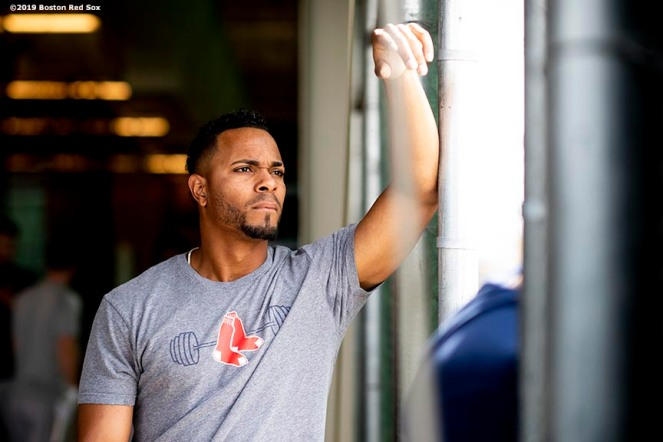 MESA, AZ - MARCH 26: Xander Bogaerts #2 of the Boston Red Sox looks on before a spring training game against the Chicago Cubs on March 26, 2019 at Sloan Park in Mesa, Arizona. (Photo by Billie Weiss/Boston Red Sox/Getty Images) *** Local Caption *** Xander Bogaerts