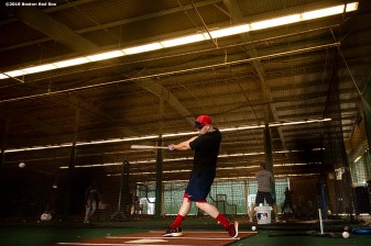 MESA, AZ - MARCH 26: Brock Holt #12 of the Boston Red Sox takes batting practice before a spring training game against the Chicago Cubs on March 26, 2019 at Sloan Park in Mesa, Arizona. (Photo by Billie Weiss/Boston Red Sox/Getty Images) *** Local Caption *** Brock Holt
