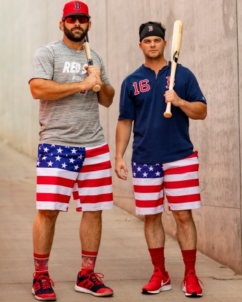 MESA, AZ - MARCH 26: Mitch Moreland #18 and Andrew Benintendi #16 of the Boston Red Sox pose for a portrait before a spring training game against the Chicago Cubs on March 26, 2019 at Sloan Park in Mesa, Arizona. (Photo by Billie Weiss/Boston Red Sox/Getty Images) *** Local Caption *** Mitch Moreland; Andrew Benintendi