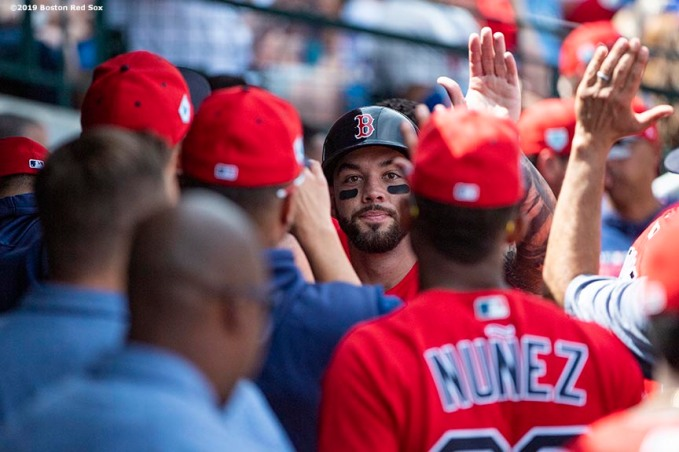 MESA, AZ - MARCH 26: Blake Swihart #23 of the Boston Red Sox high fives teammates after hitting a solo home run during the third inning of a spring training game against the Chicago Cubs on March 26, 2019 at Sloan Park in Mesa, Arizona. (Photo by Billie Weiss/Boston Red Sox/Getty Images) *** Local Caption *** Blake Swihart