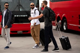 MESA, AZ - MARCH 26: Rick Porcello #22, David Price #10, and Chris Sale #41 of the Boston Red Sox board the plane as the team travels from Mesa, Arizona to Seattle, Washington on March 26, 2019. (Photo by Billie Weiss/Boston Red Sox/Getty Images) *** Local Caption *** David Price; Chris Sale; Rick Porcello