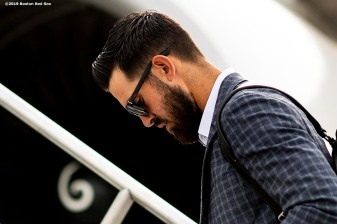 MESA, AZ - MARCH 26: Rick Porcello #22 of the Boston Red Sox boards the plane as the team travels from Mesa, Arizona to Seattle, Washington on March 26, 2019. (Photo by Billie Weiss/Boston Red Sox/Getty Images) *** Local Caption *** Rick Porcello
