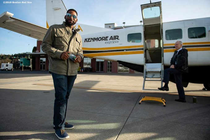 SEATTLE, WA - MARCH 27: Jackie Bradley Jr. #19 of the Boston Red Sox reacts before boarding a charter flight over Mount Rainier in Seattle, Washington on March 27, 2019. (Photo by Billie Weiss/Boston Red Sox/Getty Images) *** Local Caption *** Jackie Bradley Jr.