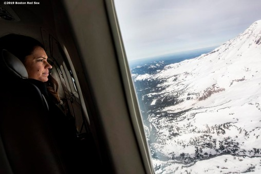 SEATTLE, WA - MARCH 27: ESPN anchor Jessica Mendoza looks out the window during a charter flight over Mount Rainier in Seattle, Washington on March 27, 2019. (Photo by Billie Weiss/Boston Red Sox/Getty Images) *** Local Caption *** Jessica Mendoza