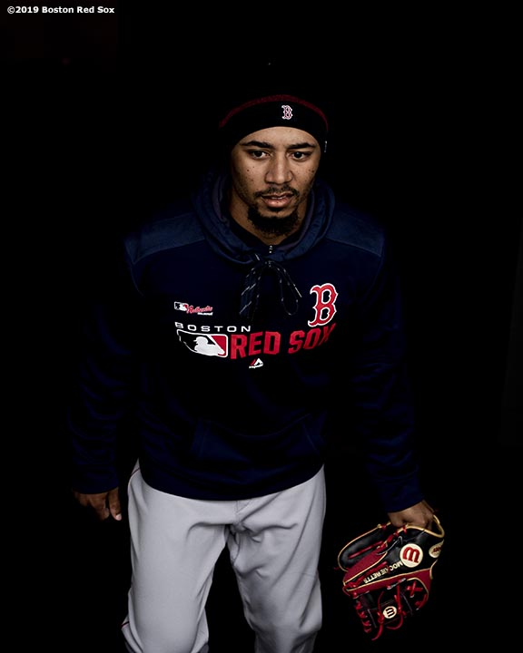 SEATTLE, WA - MARCH 27: Mookie Betts #50 of the Boston Red Sox walks out of the tunnel during a team workout before Opening day at T-Mobile Park in Seattle, Washington on March 27, 2019. (Photo by Billie Weiss/Boston Red Sox/Getty Images) *** Local Caption *** Mookie Betts