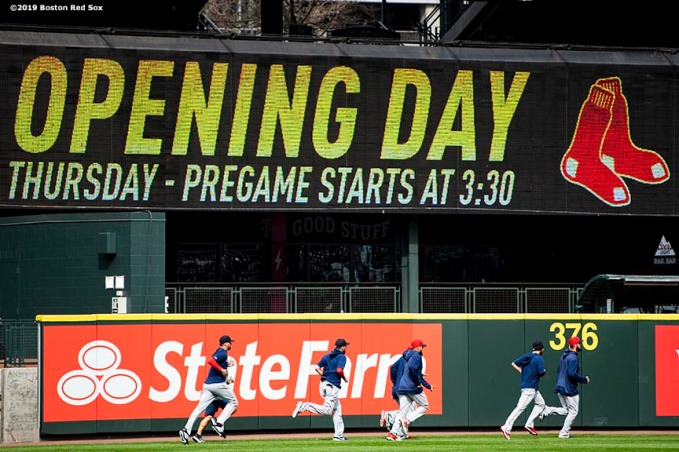 SEATTLE, WA - MARCH 27: Pitchers of the Boston Red Sox jog around the warning track during a team workout before Opening day at T-Mobile Park in Seattle, Washington on March 27, 2019. (Photo by Billie Weiss/Boston Red Sox/Getty Images) *** Local Caption ***