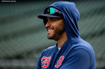 SEATTLE, WA - MARCH 27: J.D. Martinez #28 of the Boston Red Sox reacts during a team workout before Opening day at T-Mobile Park in Seattle, Washington on March 27, 2019. (Photo by Billie Weiss/Boston Red Sox/Getty Images) *** Local Caption *** J.D. Martinez