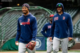 SEATTLE, WA - MARCH 27: Mookie Betts #50 and J.D. Martinez #28 of the Boston Red Sox react during a team workout before Opening day at T-Mobile Park in Seattle, Washington on March 27, 2019. (Photo by Billie Weiss/Boston Red Sox/Getty Images) *** Local Caption *** J.D. Martinez; Mookie Betts