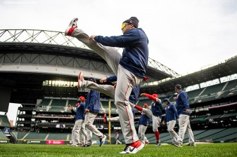 SEATTLE, WA - MARCH 27: Andrew Benintendi #16 of the Boston Red Sox stretches during a team workout before Opening day at T-Mobile Park in Seattle, Washington on March 27, 2019. (Photo by Billie Weiss/Boston Red Sox/Getty Images) *** Local Caption *** Andrew Benintendi