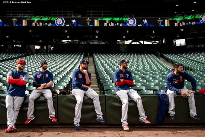 SEATTLE, WA - MARCH 27: Ryan Brasier #70, Tyler Thornburg #47, Brian Johnson #61, Rick Porcello #22, and Brandon Workman #44 of the Boston Red Sox look on during a team workout before Opening day at T-Mobile Park in Seattle, Washington on March 27, 2019. (Photo by Billie Weiss/Boston Red Sox/Getty Images) *** Local Caption *** Ryan Brasier; Tyler Thornburg; Brian Johnson; Rick Porcello; Brandon Workman